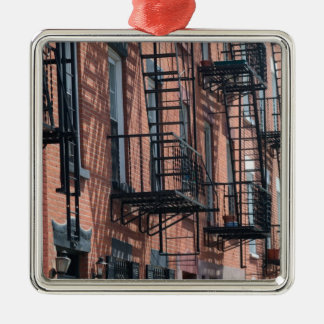 USA, New York, New York City, Brooklyn: Cobble Silver-Colored Square Decoration