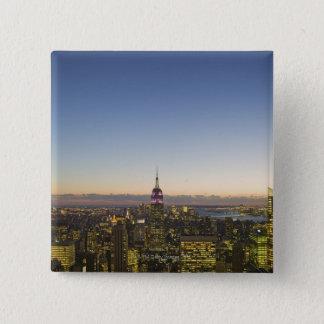 USA, New York, New York City, Cityscape at dusk 15 Cm Square Badge