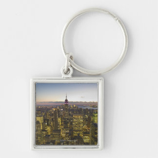 USA, New York, New York City, Cityscape at dusk 2 Silver-Colored Square Key Ring