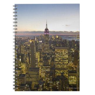 USA, New York, New York City, Cityscape at dusk 2 Spiral Note Books