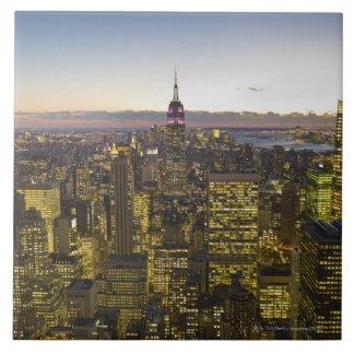 USA, New York, New York City, Cityscape at dusk 2 Tile