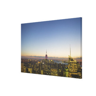 USA, New York, New York City, Cityscape at dusk Gallery Wrapped Canvas