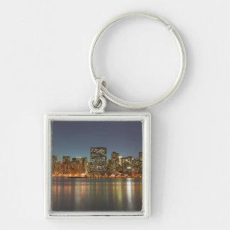 USA, New York, New York City, Manhattan: 24 Silver-Colored Square Key Ring