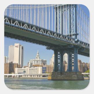 USA, New York, New York City. Manhattan Bridge Square Sticker