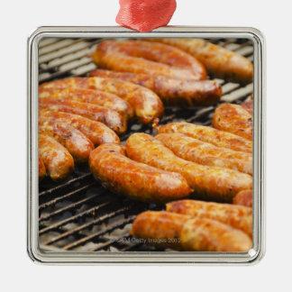 USA, New York, New York City, Sausages on Christmas Ornament