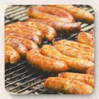 USA, New York, New York City, Sausages on Coaster