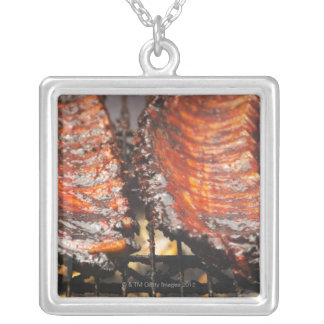 USA, New York, New York City, Spareribs on Silver Plated Necklace