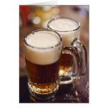 USA, New York, New York City, Two beers on bar Greeting Card