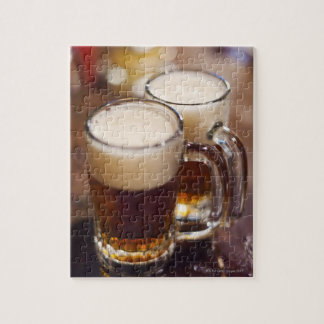 USA, New York, New York City, Two beers on bar Jigsaw Puzzle