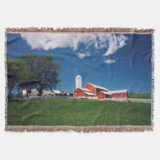 USA, New York, Sharon Springs, Farm Throw Blanket