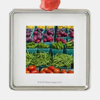 USA, New York State, New York, Vegetables and Christmas Ornament