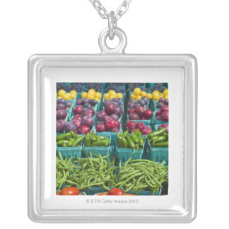 USA, New York State, New York, Vegetables and Silver Plated Necklace