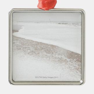 USA, New York State, Rockaway Beach, beach in Silver-Colored Square Decoration