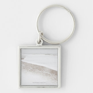 USA, New York State, Rockaway Beach, beach in Silver-Colored Square Key Ring