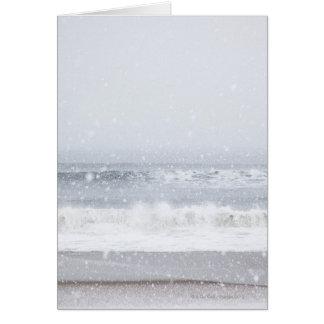 USA, New York State, Rockaway Beach, snow storm Card