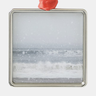 USA, New York State, Rockaway Beach, snow storm Christmas Ornament