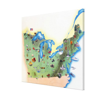 USA, Northern States of America, map with Canvas Print
