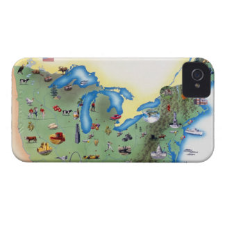 USA, Northern States of America, map with iPhone 4 Case-Mate Case