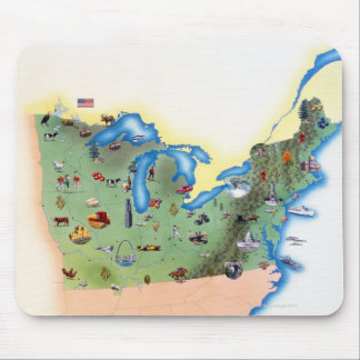 USA, Northern States of America, map with Mouse Mat