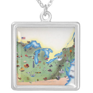 USA, Northern States of America, map with Silver Plated Necklace
