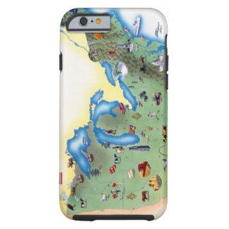 USA, Northern States of America, map with Tough iPhone 6 Case