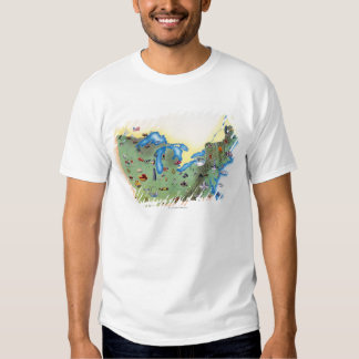 USA, Northern States of America, map with Tshirt