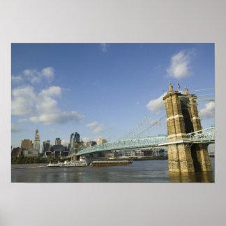 USA, Ohio, Cincinnati: Roebling Suspension 2 Poster