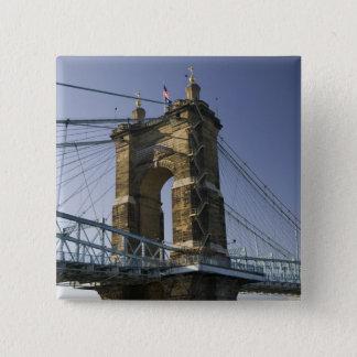 USA, Ohio, Cincinnati: Roebling Suspension 3 15 Cm Square Badge