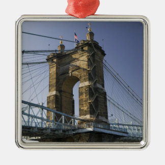 USA, Ohio, Cincinnati: Roebling Suspension 3 Christmas Ornament