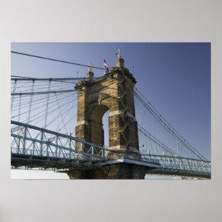 USA, Ohio, Cincinnati: Roebling Suspension 3 Poster