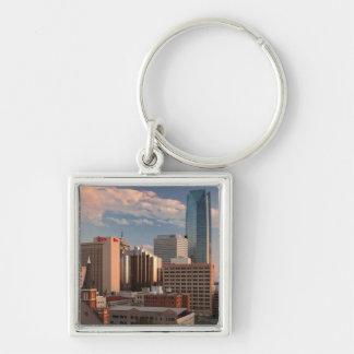 USA, Oklahoma, Oklahoma City, Elevated City Silver-Colored Square Key Ring