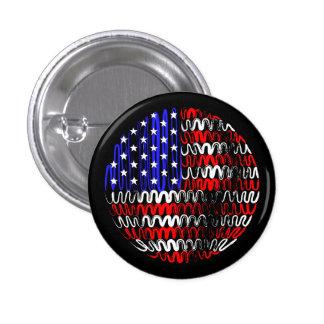 USA on Black 3 Cm Round Badge