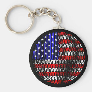 USA on Black Keychain