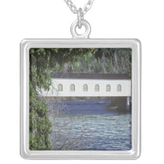 USA, Oregon. A pick-up crossing the Silver Plated Necklace