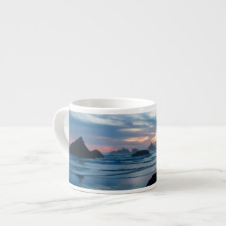USA, Oregon, Bandon Beach. Seagull on rock Espresso Cup