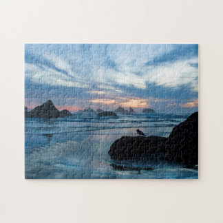 USA, Oregon, Bandon Beach. Seagull on rock Jigsaw Puzzle