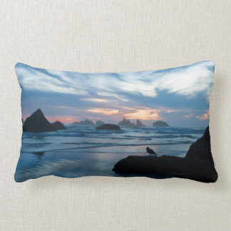 USA, Oregon, Bandon Beach. Seagull on rock Lumbar Cushion