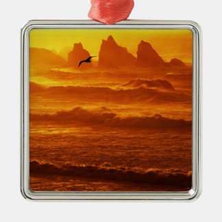 USA, Oregon, Bandon. Sunset over waves and sea Christmas Ornament