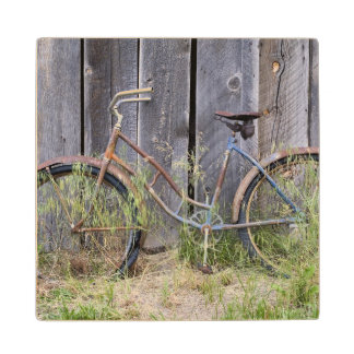 USA, Oregon, Bend. A dilapidated old bike Wood Coaster