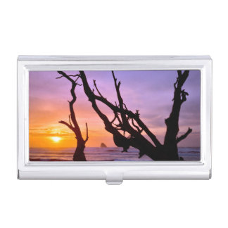 USA, Oregon, Cape Meares. Sunset Business Card Holder