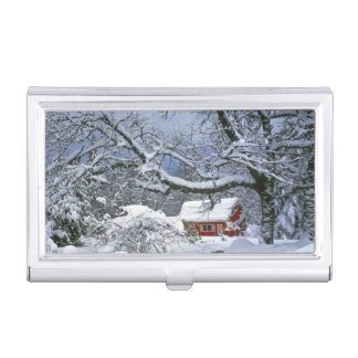 USA, Oregon, Clackamas County. Fresh snow Business Card Holder