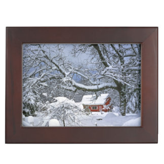 USA, Oregon, Clackamas County. Fresh snow Keepsake Box