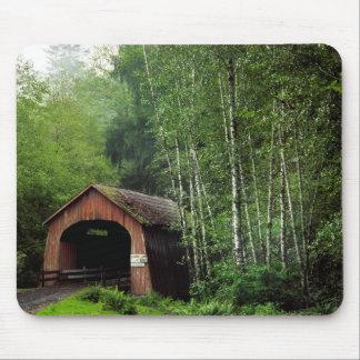 USA, Oregon. Covered Bridge Over North Fork Mouse Mat