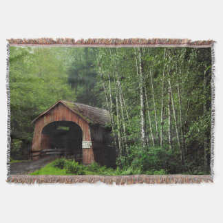 USA, Oregon. Covered Bridge Over North Fork Throw Blanket