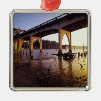 USA, Oregon, Florence. Siuslaw Bridge and Christmas Ornament