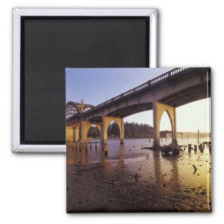 USA, Oregon, Florence. Siuslaw Bridge and Square Magnet