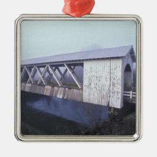 USA, Oregon. Gilkey covered bridge spans Christmas Ornament