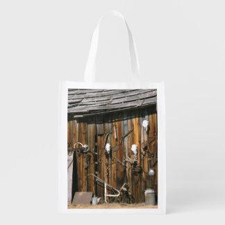 USA, Oregon, Harney County. Old livery stable Reusable Grocery Bag