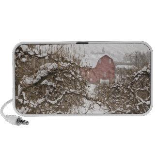 USA, Oregon, Hood River. Snow covered Apple Travel Speakers