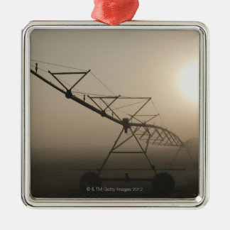 USA, Oregon, Marion County, Irrigation and fog Silver-Colored Square Decoration